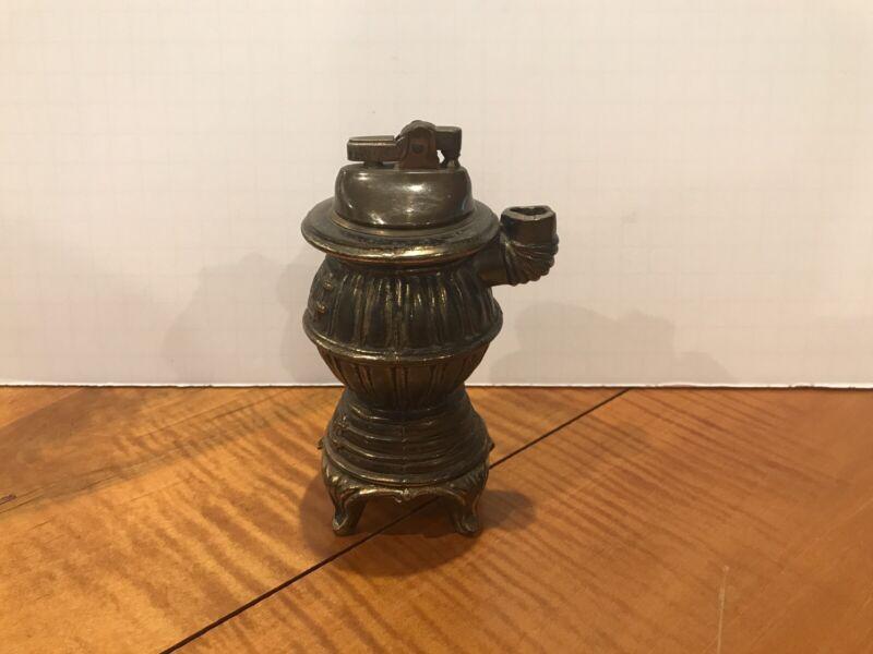 """Vintage Brass Color Cast Metal POT BELLY STOVE Lighter 5 1/2"""" Tall Made N Japan"""