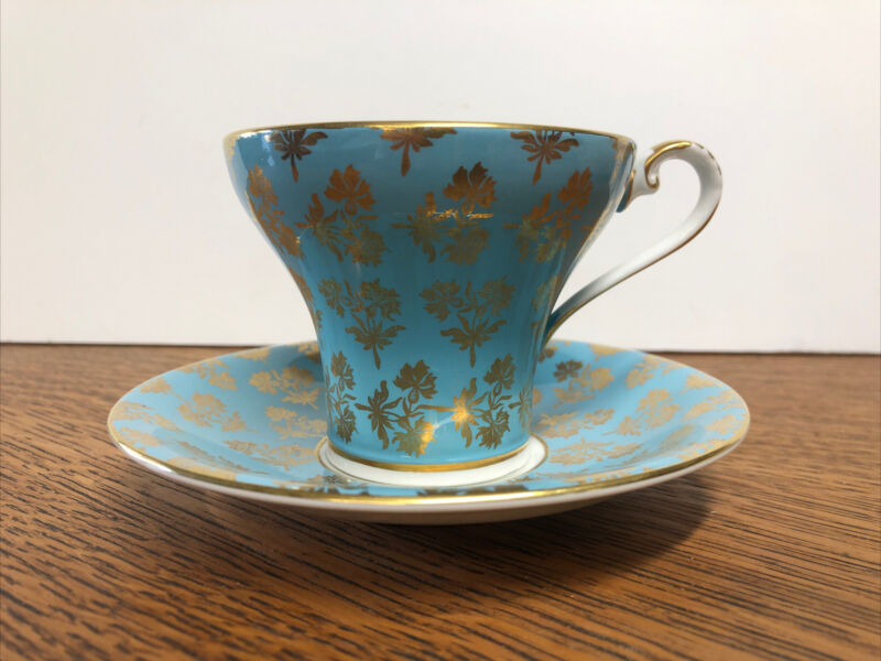Vintage Aynsley England Bone China Cup & Saucer #2457 AQUA & GOLD SPRIGS