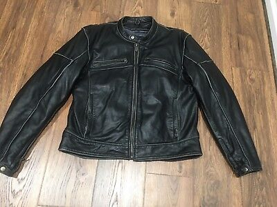 NOS RIVER ROAD 093913 RAMBLER DISTRESSED LEATHER JACKET LINED BLACK SIZE MENS 54