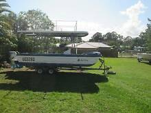 21 ft twin hull f/glass party boat 50 hp honda dual trailer Loganlea Logan Area Preview