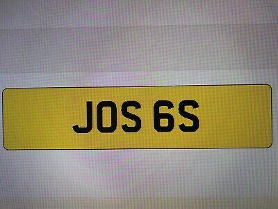 JOS 6S  CHERISHED PRIVATE NUMBER PLATE DVLA REG JOSS JOSHUA JOSEPH