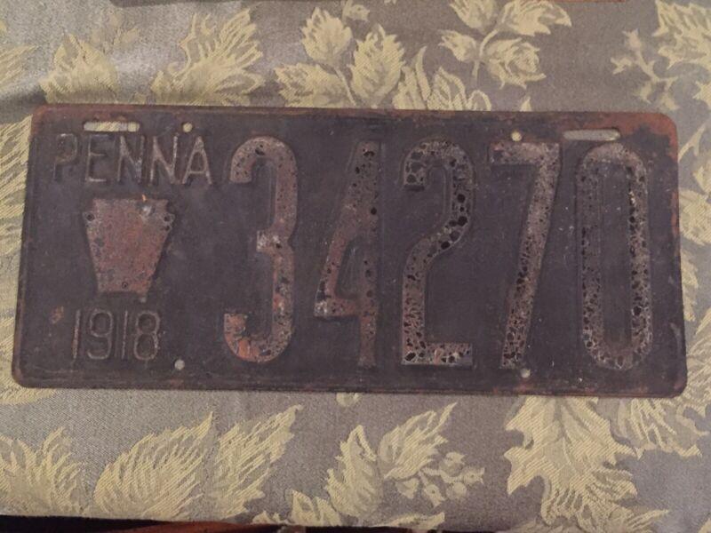 1918 Pennsylvania License Plate 34270