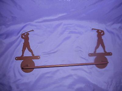 - MALE / HIS SWINGING GOLFER TOWEL BAR AND TOWEL RING BATHROOM SET METAL