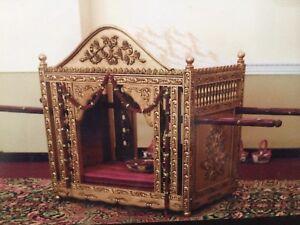 Wedding - Doli Palki rental - hand carved wooden detailed.