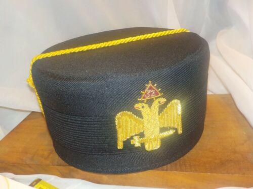 Vtg 32nd Degree Scottish Rite Freemasons Masonic Cap Hat Double Eagle Sz 7