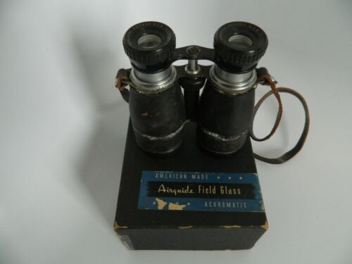 Vintage Airguide Achromatic Binoculars Field Glass Chicago 5 X 40 USA Made wBox