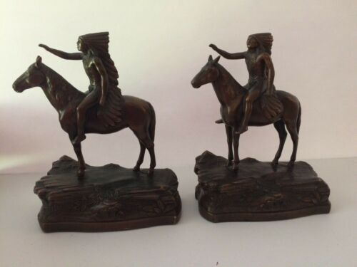 Antique JB Jennings Bros. Indian Chief on Horse Bookends 1920