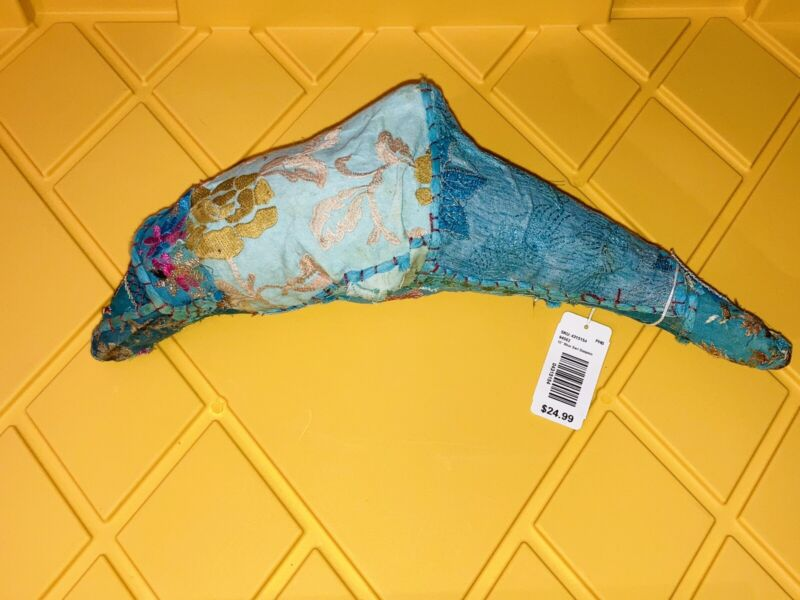 """NWT Pier 1 Imports 12"""" Blue Sari Dolphin Authentic Hand Made In India Gift RARE"""