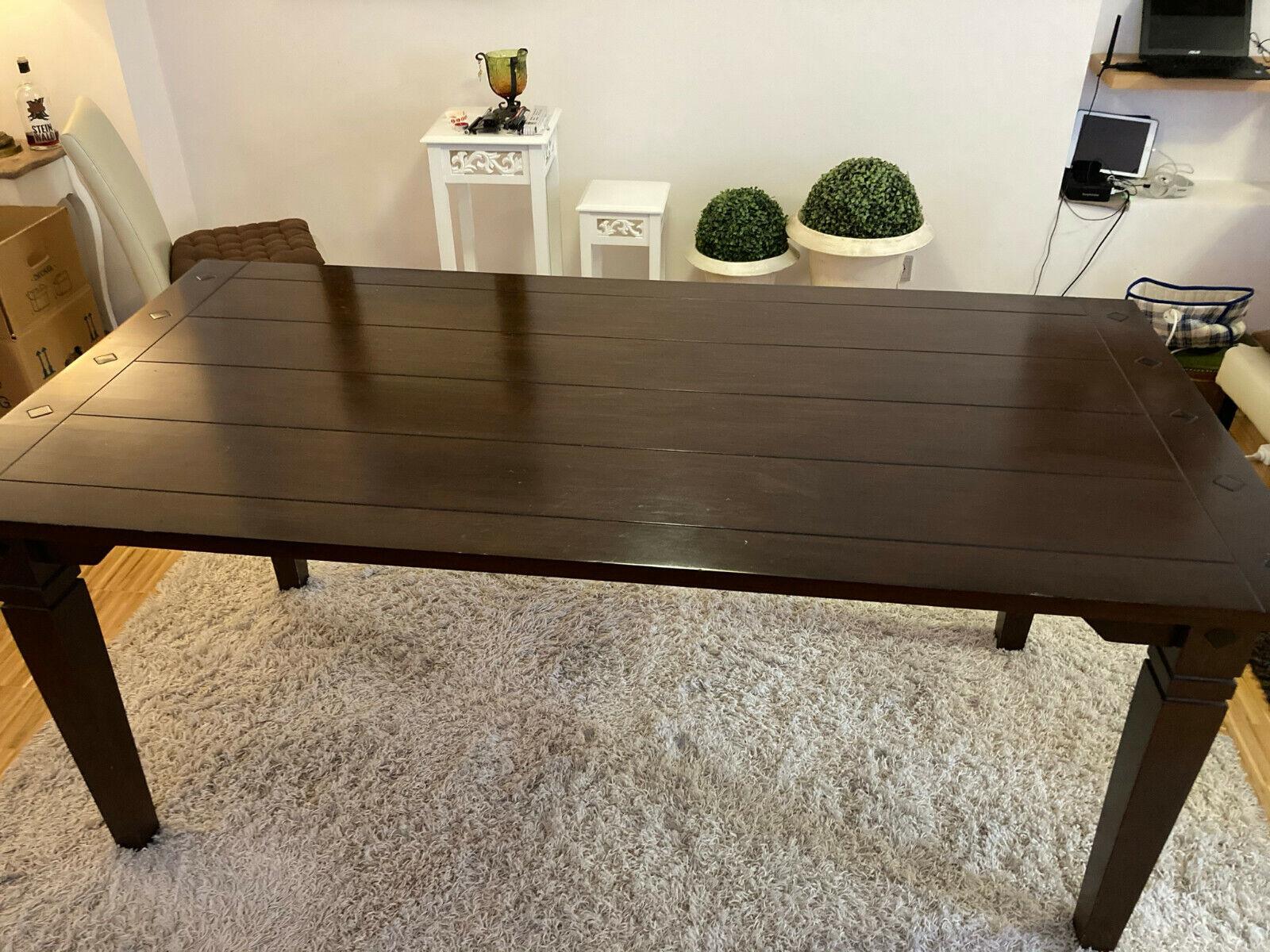 Wohnzimmertisch Esstisch braun lackiert Echtholz 180 x 90 cm erweiterbar
