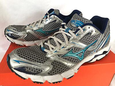 49bc7326b175 Mizuno Wave Rider 13 Silver 8KN-00323 Blue 5K Marathon Running Shoes Women's  11