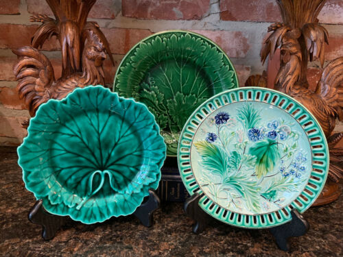 SET 3 Antique Wedgwood Majolica Green Leaf PLATE Floral Reticulated China