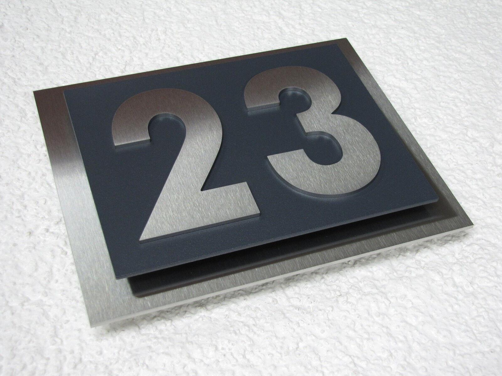 exklusive designer hausnummer edelstahl anthrazit ral 7016 1 9 a h a h modern eur 78 95. Black Bedroom Furniture Sets. Home Design Ideas