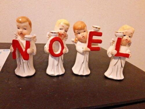 Vintage Noel Angels Candle Holders Original Box Japan Porcelain-Estate