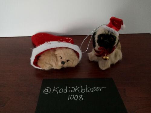 Lot 2 Pug & Golden Retriever Lab Dog Puppy Faux Fur Animal Christmas Ornament
