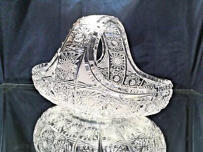 "Crystal Glass Basket 9"" Hand Cut for Sweets Fruits Candy  Nuts Bohemian Crystal"
