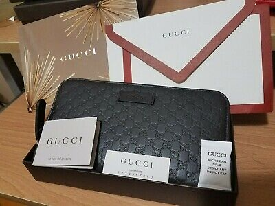 New Gucci Women's 449391 Brown Leather Micro GG Guccissima Zip Around Wallet