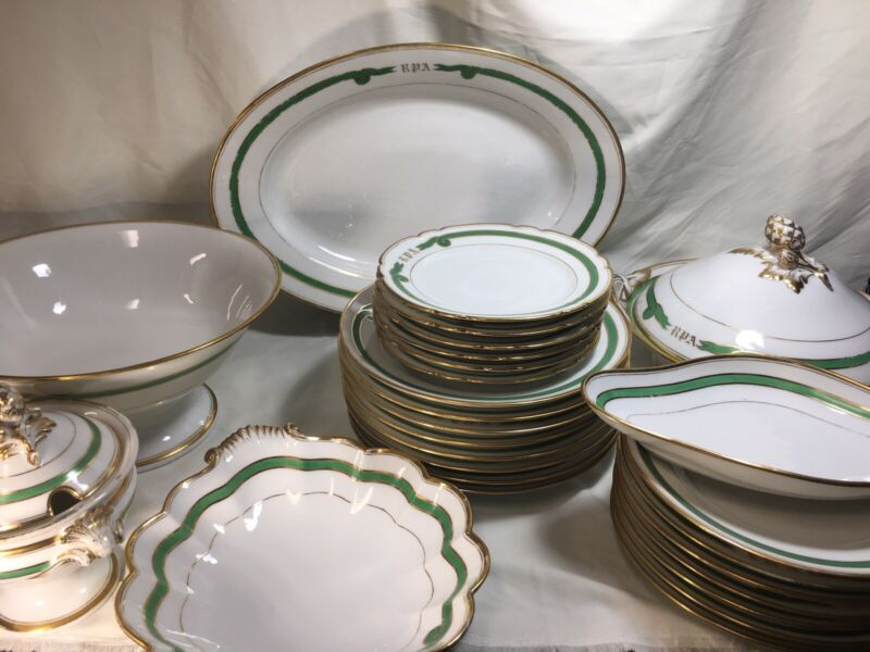 27 Pieces Old Paris Porcelain Empire Green Ribbon DINNER SET - #1- Monogram