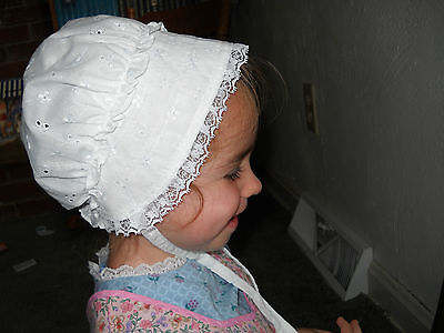 Handmade Baby Girl Bonnet - 100% Cotton White Eyelet & Lace