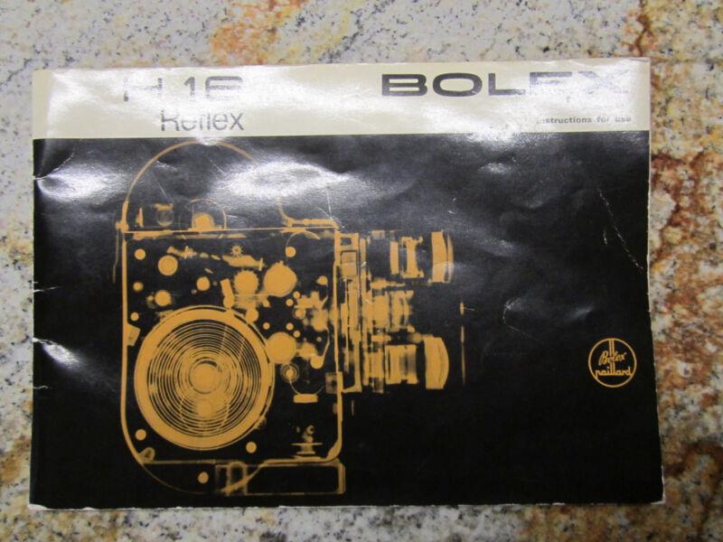 SWISS INSTRUCTION MANUAL for BOLEX H16 REFLEX 16MM MOVIE CAMERA