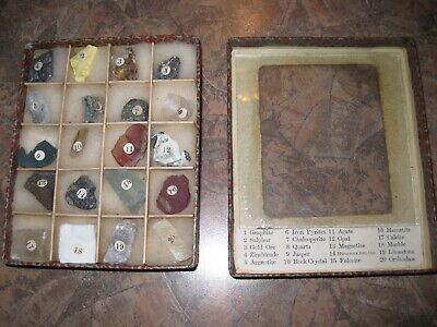 COMPLETE Vintage Japan Box Mineral Specimens Cardboard w/ Glass Front Labled