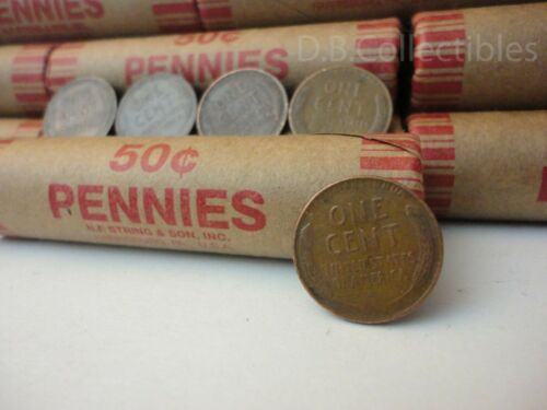 Roll of 1930-1939 Wheat Pennies - 50 Penny Cent Unopened Unsearched Coins