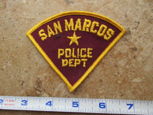 OBSOLETE Vintage State of Texas San Marcos Police Triangle Shoulder Patch A