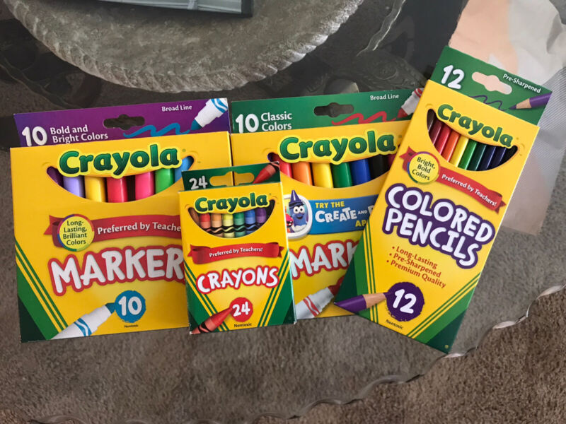Brand new crayola crayons and markers And Colored Pencils