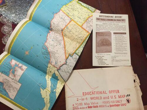 """Vintage Hammond UNUSED Supreme Map USA&World 33"""" x 49"""""""