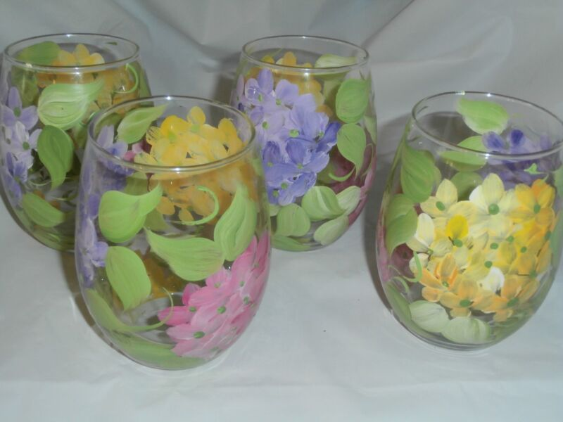 HAND PAINTED PINK YELLOW PURPLE HYDRANGEA SET/4 STEMLESS WINEUSA FLORAL GOBLET