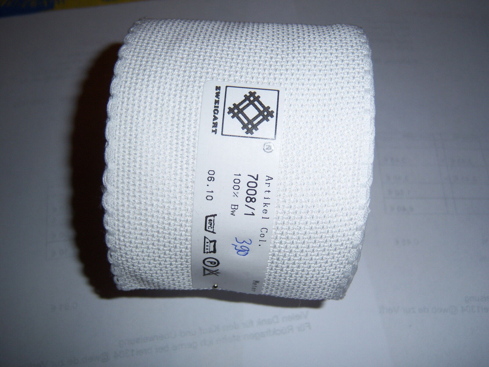 Stickband Aidastoff weiß mit weißen Rand 5 cm  7107/1