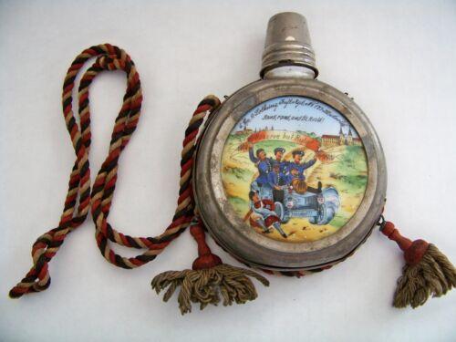 Rare Antique German Reserves Homeland Military Liquor Flask Canteen Handpainted