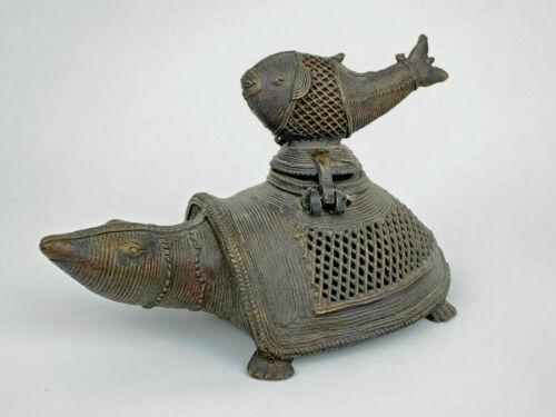 """Vintage Antique 8"""" Bronze Dhokra TORTOISE w/FISH Figurine Incense Burner Censer"""
