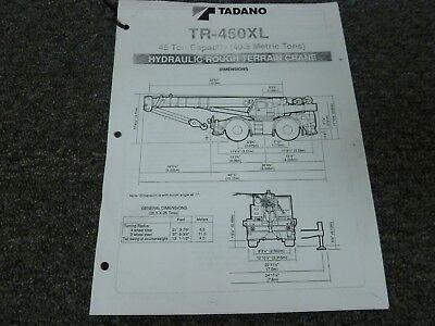Tadano Tr-450xl Hydraulic Rough Terrain Crane Load Chart Capacities Manual