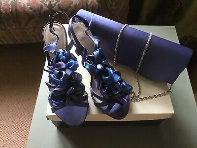 New Blue Satin Shoes Size 4 And Matching Bag