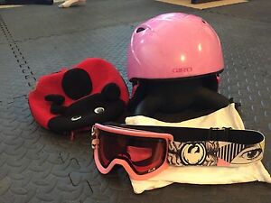 Child's ski helmet and googles