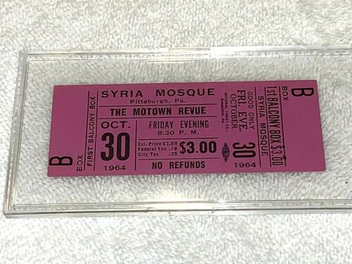 The Motown Revue 1964 UNUSED CONCERT TICKET Supremes Marvin Gaye Marveletts usa