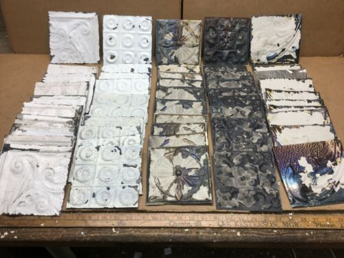 """50 pc Lot of 5"""" by 5"""" Antique Ceiling Tin Vintage Reclaimed Salvage Art Craft"""