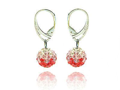 Shamballa Disco Balls Red, Light Pink & White Fusion Drop Earrings E432 (Red Disco Balls)