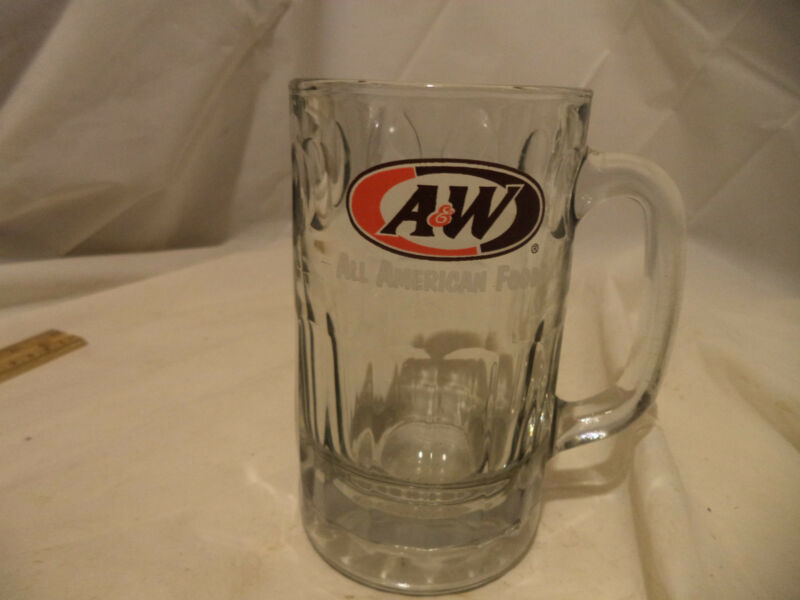 """A & W Root Beer 6"""" Tall Glass Mugs Vintage all american food"""