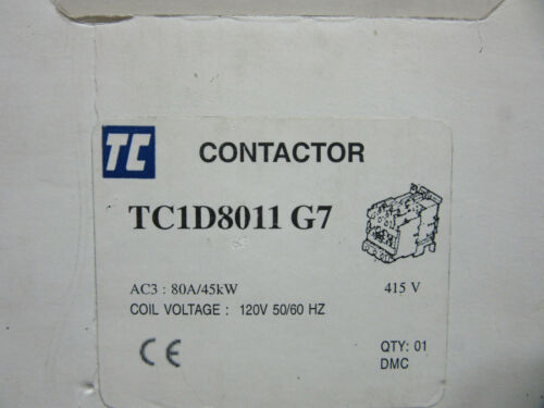 Shamrock TC1-D8011-G7 Contactor 3P 80A 120VAC Aux. Built-in 1 NO / 1 NC NEW!!!