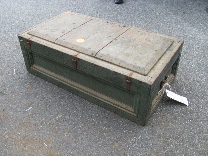 Antique Blue Wood Trunk