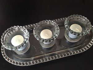 Glass candle holders and tray