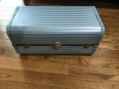 Vintage Doll Clothes Trunk Wardrobe Case Latch Blue Gray Striped Stitched 20""