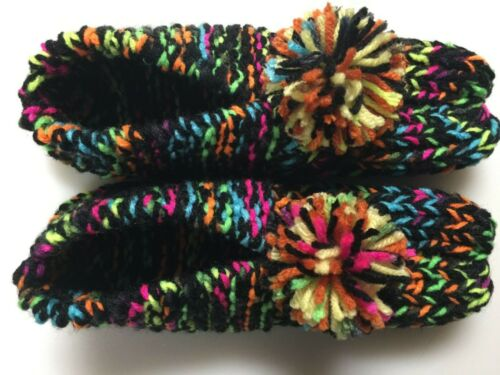 """New Amish Handmade Knitted Slippers Black/Rainbow Colors Wms Med Mans Small 9"""""""