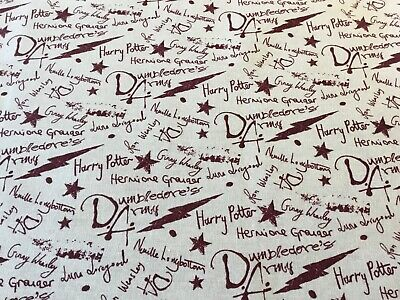 Harry Potter Dumbledore's Army fabric Fat Quarter 46 x 56cm sewing