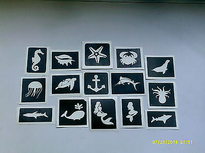 30 x sea themed stencils (mixed) for glitter tattoos / airbrush ocean seahorse (Ocean Themed Tattoos)