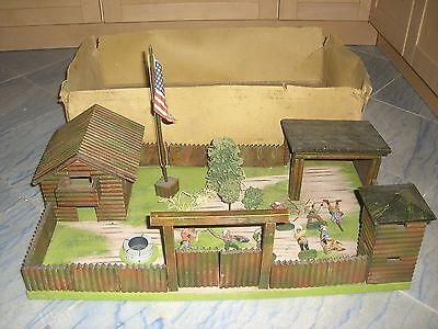 Hausser Elastolin Western Cowboy  Fort im OK unterteil + Figuren  von ca1935/55