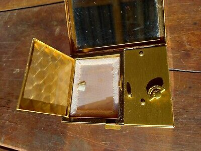 Swiss Vintage Musical Powder Compact Mother Of Pearl 1950's Unsed