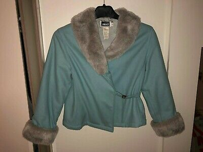 Young versace girls vintage blue short wool coat.