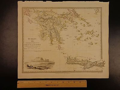 1844 BEAUTIFUL Huge Color MAP of Greece Crete Acropolis of Athens Engraved ATLAS
